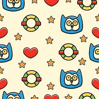 Seamless pattern  of doodle cartoon bird