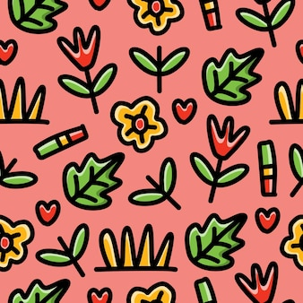 Seamless pattern  of doodle cartoon plant