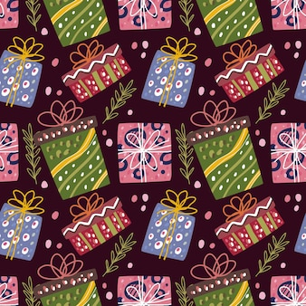 Seamless pattern doodle of christmas box element, birthday box.