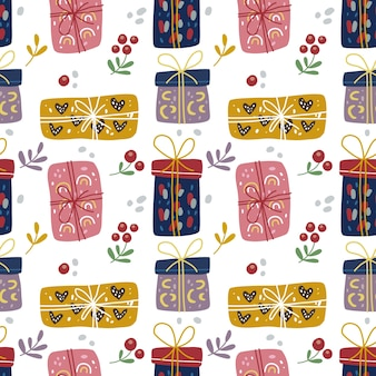 Seamless pattern doodle of christmas gift box