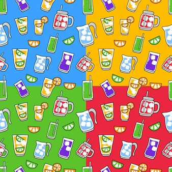 Seamless pattern doodle of drink element .