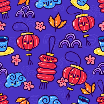 Seamless pattern doodle of mid autumn element .