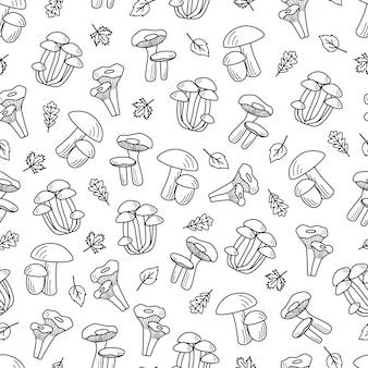 シームレスパターン落書きキノコアイコンベクトル。ポルチーニ、アンズタケ、ハニーアガリック、シャンピニオン、アスペンマッシュルーム、ベニタケのイラスト。