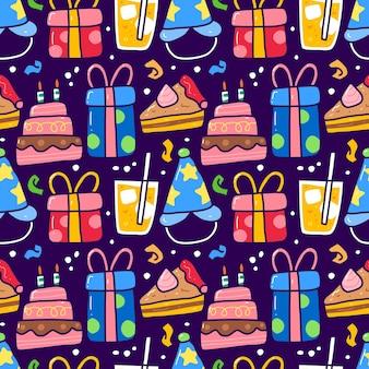 誕生日パーティー要素のシームレスなパターン落書き。生地等に使用できます