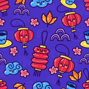 中秋要素のシームレスなパターンの落書き。