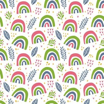 スカンジナビアの虹の要素のシームレスなパターン落書き。
