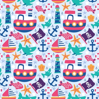 Seamless pattern doodle ship anchor lighthouse shark fish flag fish