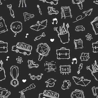 Seamless pattern of doodle or sketch school on blackboard