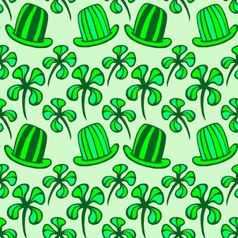 Seamless pattern. doodle style four leaf clover, luck, or st. patrick's day vector illustration