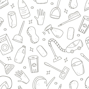 Seamless pattern doodle style vector cleaning elements. a set of drawings of cleaning products and items. room washing kit.