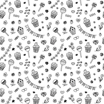 Seamless pattern in doodle style with cupcakes and sweets.