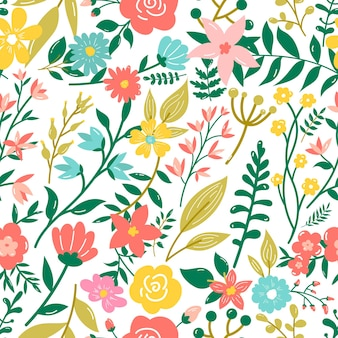 Seamless pattern in doodle style with flowers and leaves