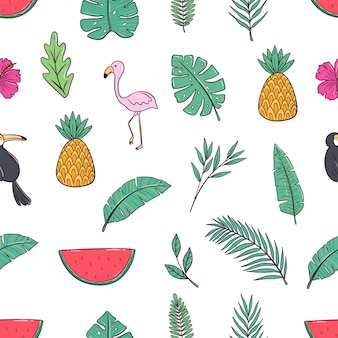 Seamless pattern of doodle summer icons with pineapple, flamingo, palm and watermelon