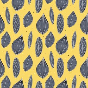 シームレスなパターン。小枝、葉で落書き。