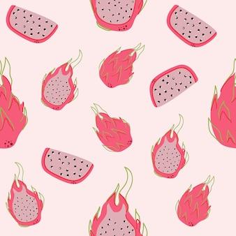 Seamless pattern of dragon fruit on pink background flat illustration