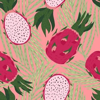Seamless pattern dragon fruit on pink background