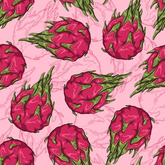 Seamless pattern of dragon fruit