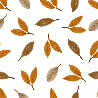 Seamless pattern of dried leaves for background design