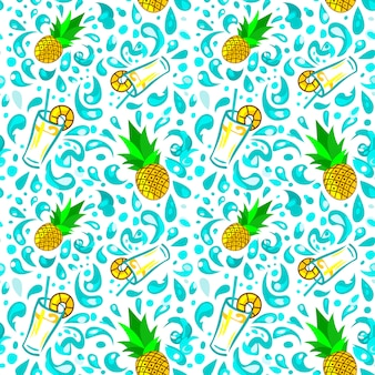 Seamless pattern drink and pineapple, squirting of water. lots of water droplets
