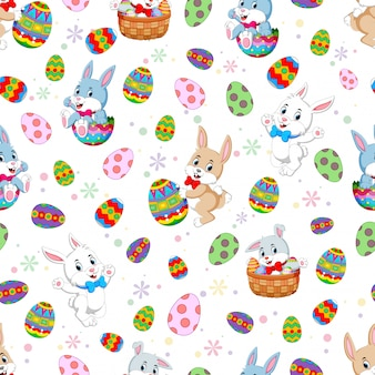 Seamless pattern easter bunnies