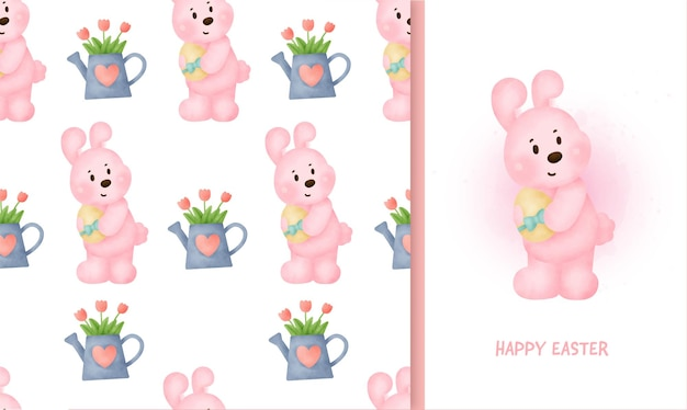 Seamless pattern easter day with rabbit and greeting card in water color iillustration.