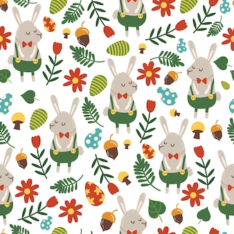 Seamless pattern for easter theme with cute cartoon bunny and flowers, eggs and foliage.