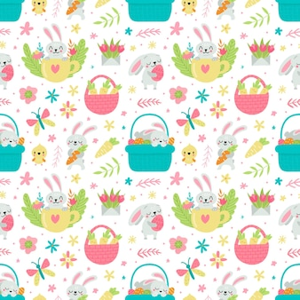 Seamless pattern for easter with rabbits and eggs illustration