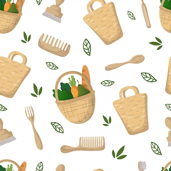 Seamless pattern - eco bamboo bag, food basket