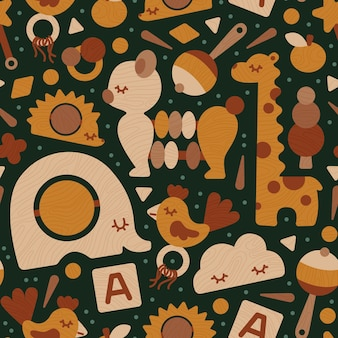 Seamless pattern eco wooden baby toys neutral colors
