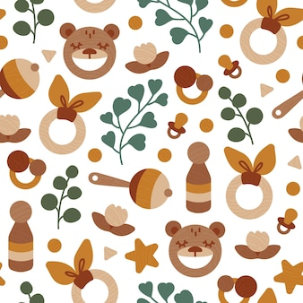 Seamless pattern eco wooden baby toys with eucalyptus leaves neutral colors