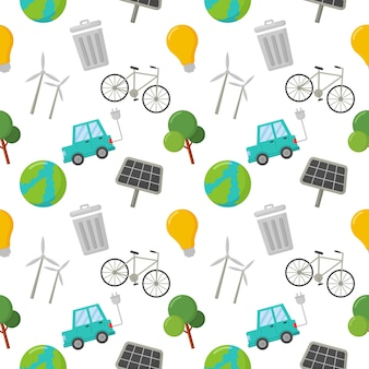 Seamless pattern ecology icons. green energy, eco isolated on white.