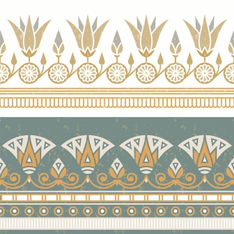 Seamless pattern of egyptian national ornament with a white flower.