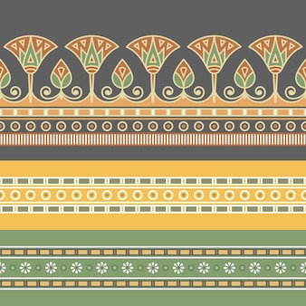Seamless pattern of egyptian ornament with a lotus flower.