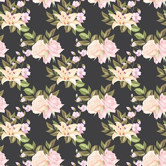 シームレスなパターンeith美しい花と葉