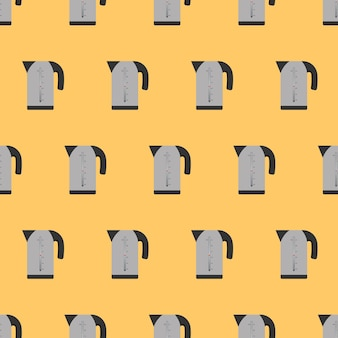 Seamless pattern electric gray kettle in a flat style. yellow background on the kitchen theme. electric kettle icon. vector.