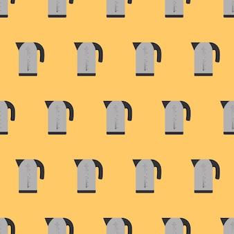 フラットスタイルのシームレスパターンエレクトリックグレーケトル。キッチンをテーマにした黄色の背景。電気ケトルのアイコン。ベクター。