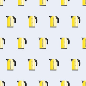 Seamless pattern electric yellow kettle in a flat style. blue background on the theme of the kitchen. electric kettle icon. vector.