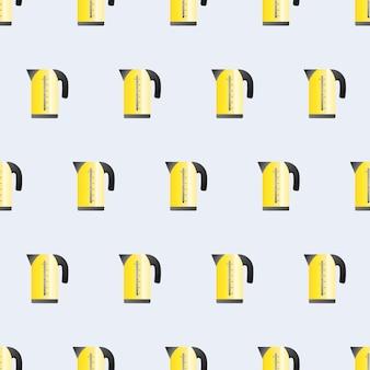 シームレスパターンフラットスタイルの電気黄色のやかん。キッチンをテーマにした青い背景。電気ケトルのアイコン。ベクター。