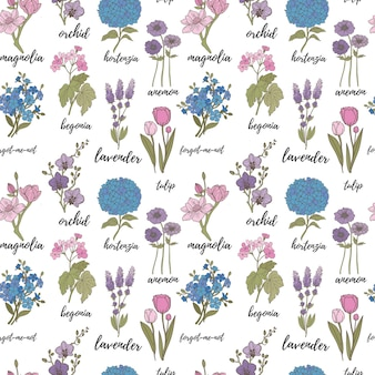 Seamless pattern of elegant and dainty florals lavender tulip hydrangea begonia forgetmenot