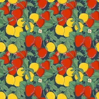 Seamless pattern element strawberry, vector illustration