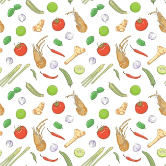Seamless pattern element tom yam kung, spicy thai soup with shrimp