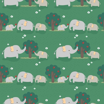 Seamless pattern elephant's family in the forest.