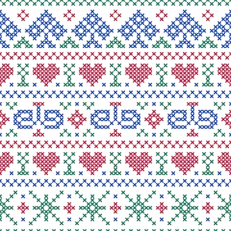 Seamless pattern embroidery cross-stitch style