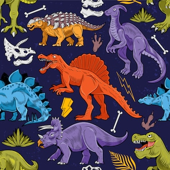 Seamless pattern engraving with colored lizard dino dinosaurs cartoon colorful vintage   illustration. children drawing for trendy print design t-shirt clothes tee typography textile poster