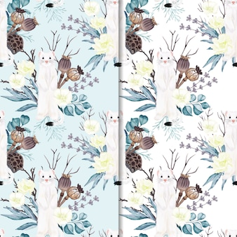 seamless pattern ermine with flowers