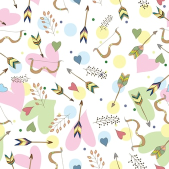 Seamless pattern - ethnic colorful vecor with indian hand drawn arrows