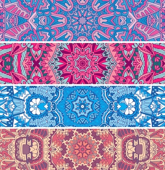 Seamless pattern ethnic psychedelic colorful banner set