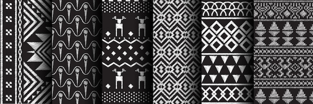 Seamless pattern ethnic set