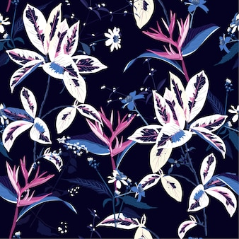 Seamless pattern of exotic dark tropical night and flower