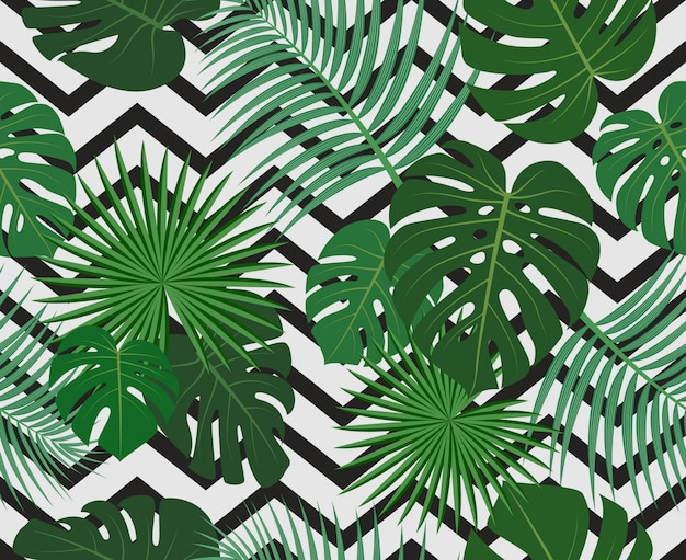Seamless pattern of exotic jungle tropical palm leaves